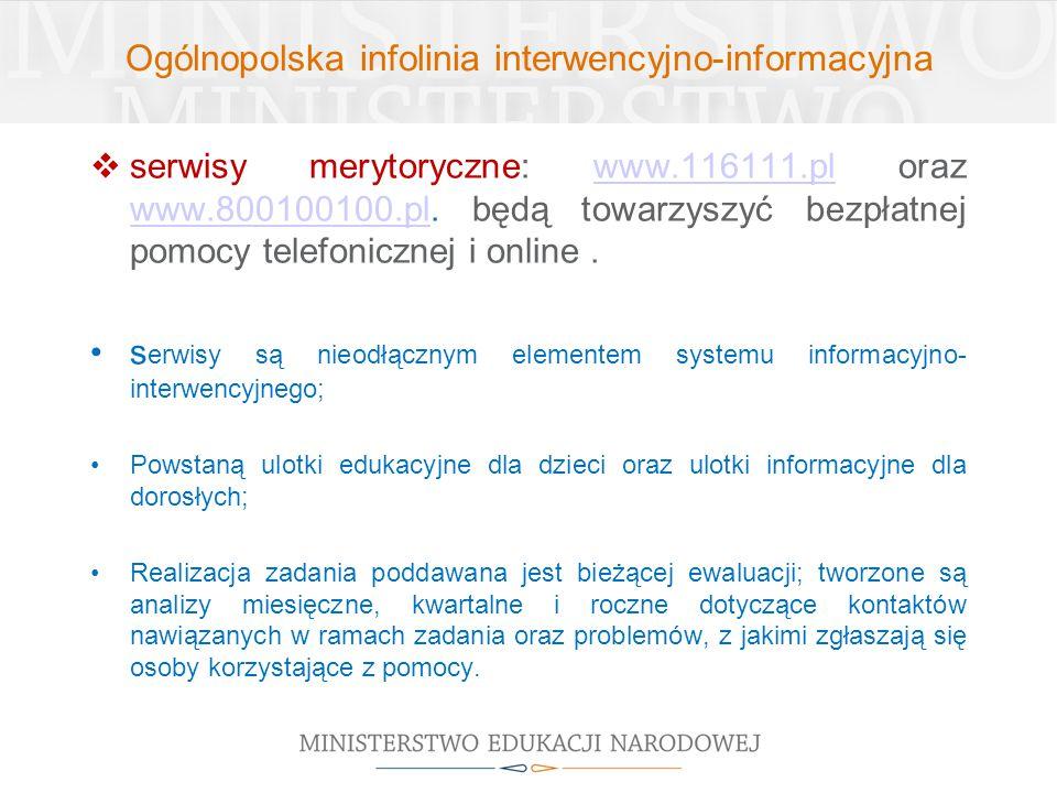 Ogólnopolska infolinia interwencyjno-informacyjna  serwisy merytoryczne: www.116111.pl oraz www.800100100.pl. będą towarzyszyć bezpłatnej pomocy tele