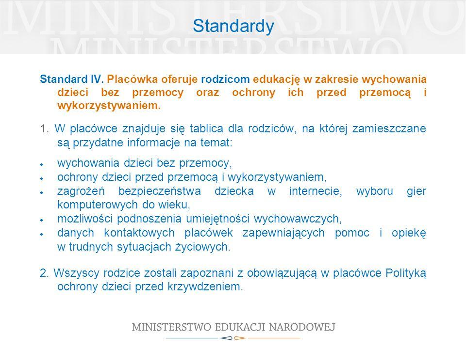 Standardy Standard IV. Placówka oferuje rodzicom edukację w zakresie wychowania dzieci bez przemocy oraz ochrony ich przed przemocą i wykorzystywaniem