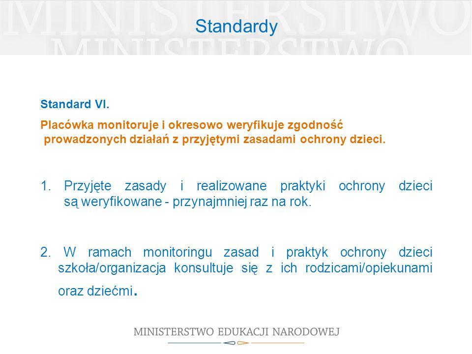 Standardy Standard VI. Placówka monitoruje i okresowo weryfikuje zgodność prowadzonych działań z przyjętymi zasadami ochrony dzieci. 1.Przyjęte zasady