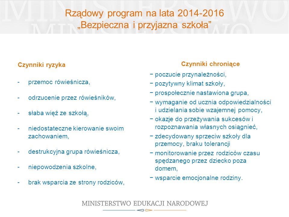 """Rządowy program na lata 2014-2016 """"Bezpieczna i przyjazna szkoła"""" Czynniki ryzyka -przemoc rówieśnicza, -odrzucenie przez rówieśników, -słaba więź ze"""