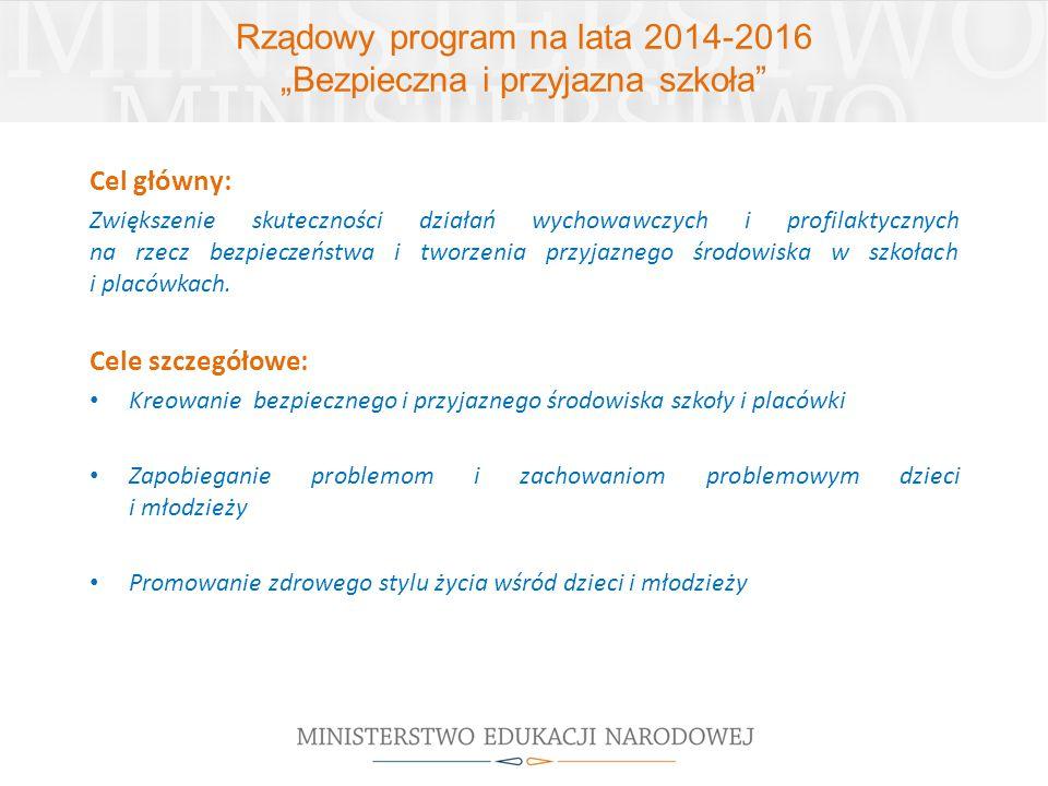 """Rządowy program na lata 2014-2016 """"Bezpieczna i przyjazna szkoła"""" Cel główny: Zwiększenie skuteczności działań wychowawczych i profilaktycznych na rze"""