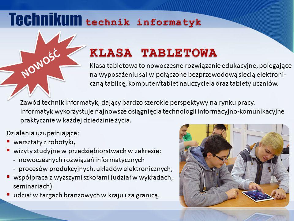 Technikum NOWOŚĆ Zawód technik informatyk, dający bardzo szerokie perspektywy na rynku pracy.