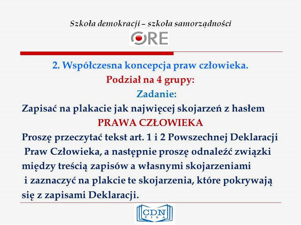 Szkoła demokracji – szkoła samorządności 2.Współczesna koncepcja praw człowieka.