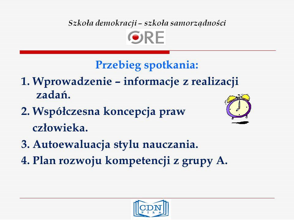 Szkoła demokracji – szkoła samorządności Przebieg spotkania: 1.