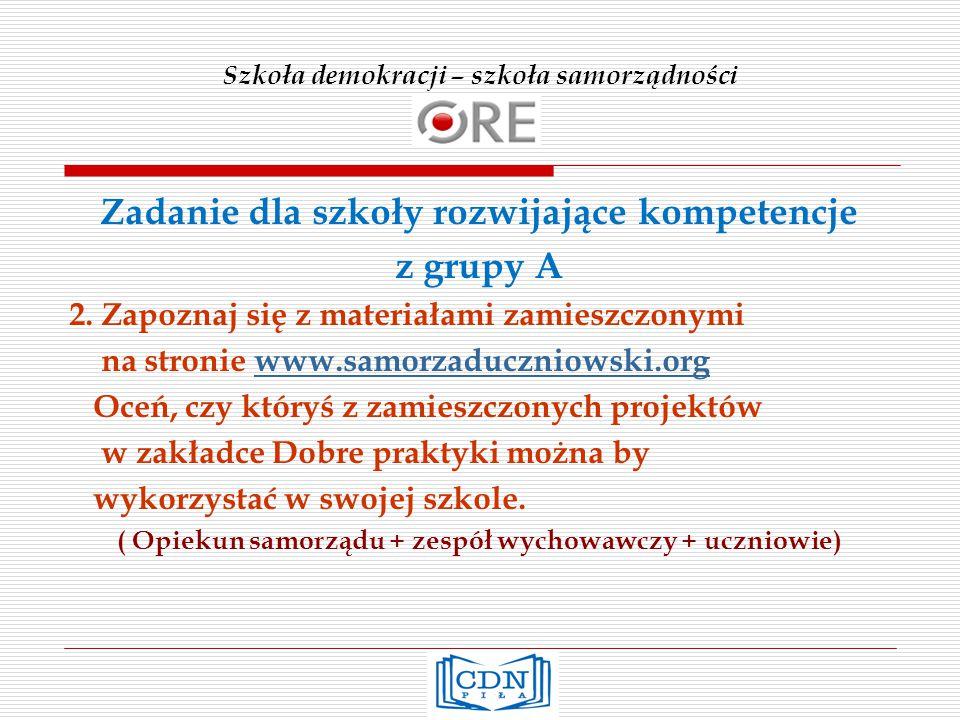 Szkoła demokracji – szkoła samorządności Zadanie dla szkoły rozwijające kompetencje z grupy A 2.
