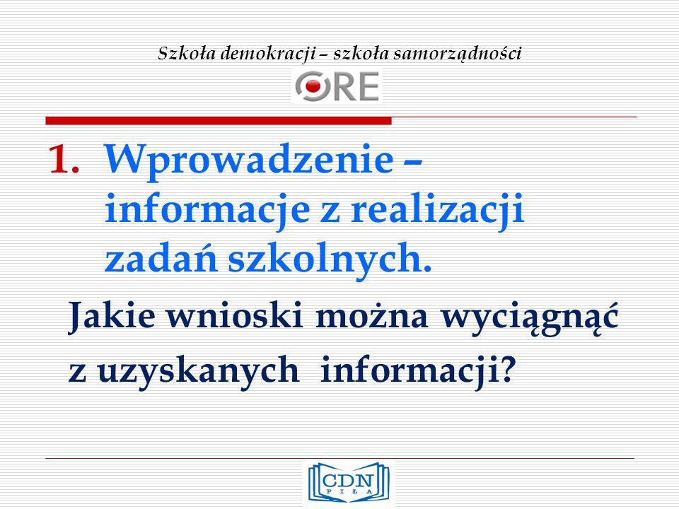 Szkoła demokracji – szkoła samorządności 1.Wprowadzenie – informacje z realizacji zadań szkolnych.