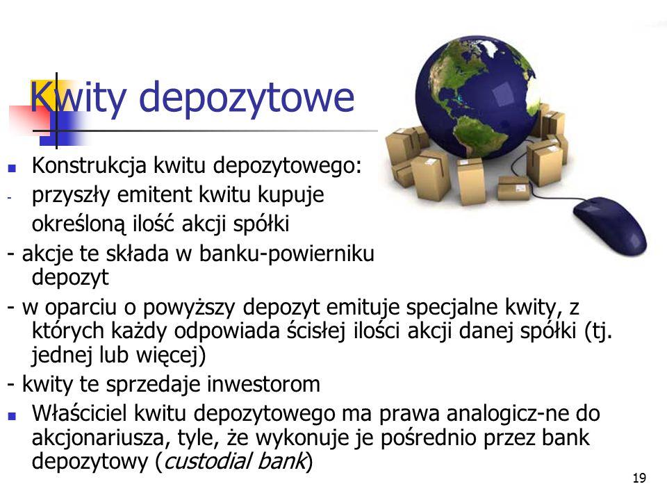 19 Kwity depozytowe Konstrukcja kwitu depozytowego: - przyszły emitent kwitu kupuje określoną ilość akcji spółki - akcje te składa w banku-powierniku
