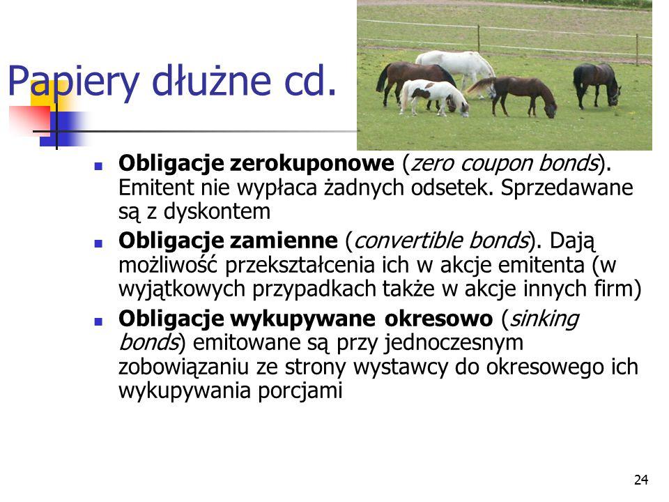 24 Papiery dłużne cd. Obligacje zerokuponowe (zero coupon bonds). Emitent nie wypłaca żadnych odsetek. Sprzedawane są z dyskontem Obligacje zamienne (