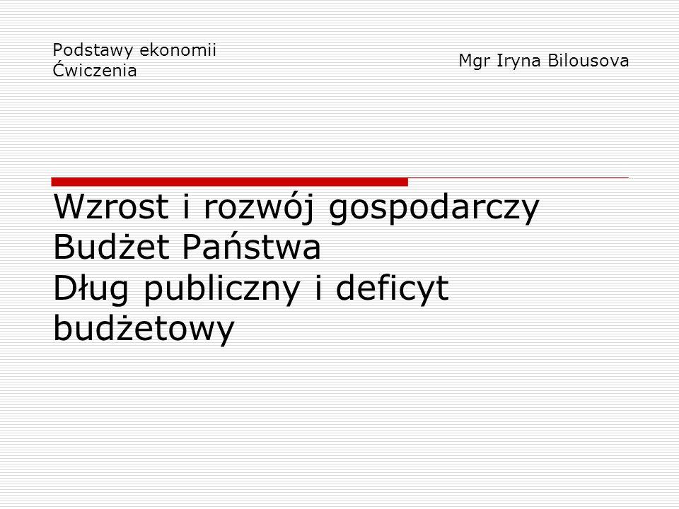 Wzrost i rozwój gospodarczy Budżet Państwa Dług publiczny i deficyt budżetowy Podstawy ekonomii Ćwiczenia Mgr Iryna Bilousova