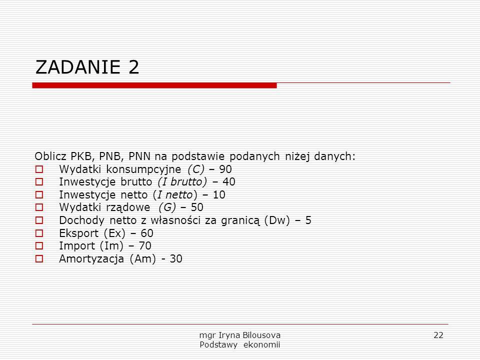 mgr Iryna Bilousova Podstawy ekonomii 22 ZADANIE 2 Oblicz PKB, PNB, PNN na podstawie podanych niżej danych:  Wydatki konsumpcyjne (C) – 90  Inwestyc