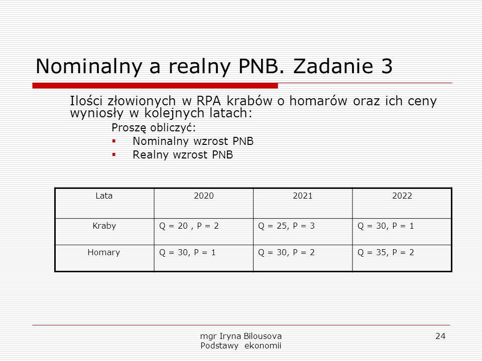 mgr Iryna Bilousova Podstawy ekonomii 24 Nominalny a realny P N B. Zadanie 3 Ilości złowionych w RPA krabów o homarów oraz ich ceny wyniosły w kolejny