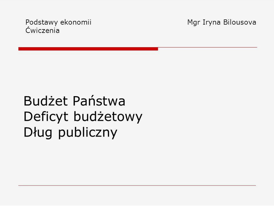 Budżet Państwa Deficyt budżetowy Dług publiczny Podstawy ekonomii Ćwiczenia Mgr Iryna Bilousova