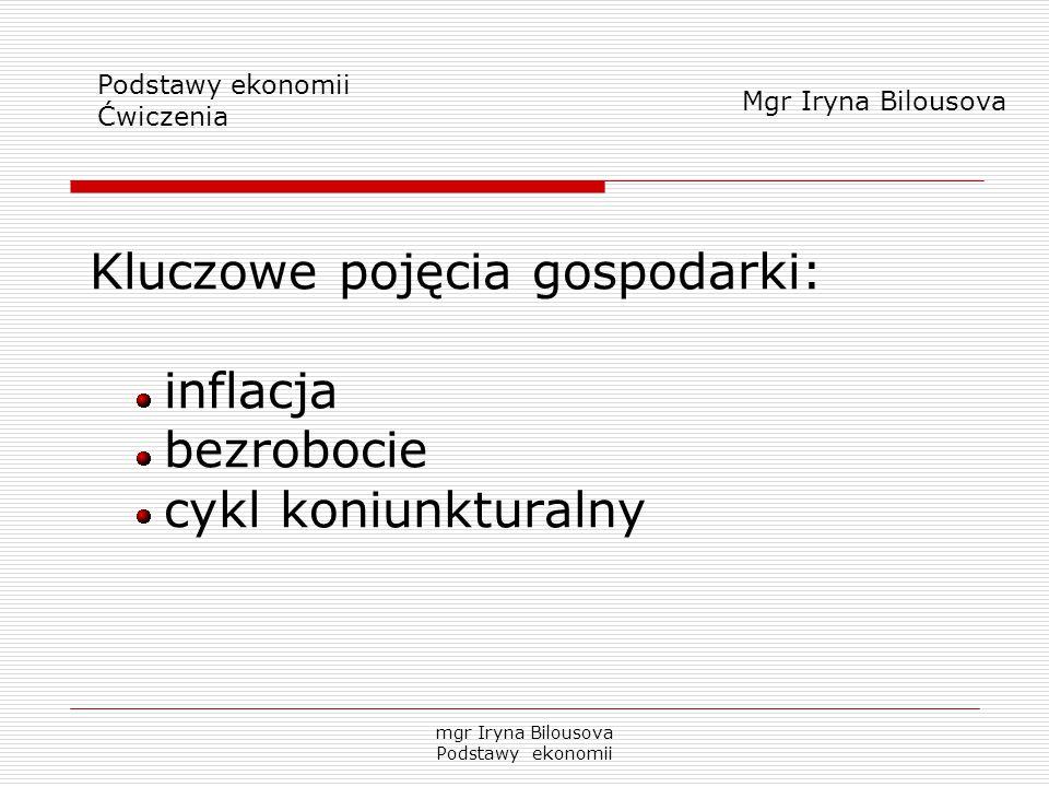 Kluczowe pojęcia gospodarki: inflacja bezrobocie cykl koniunkturalny Podstawy ekonomii Ćwiczenia Mgr Iryna Bilousova mgr Iryna Bilousova Podstawy ekon