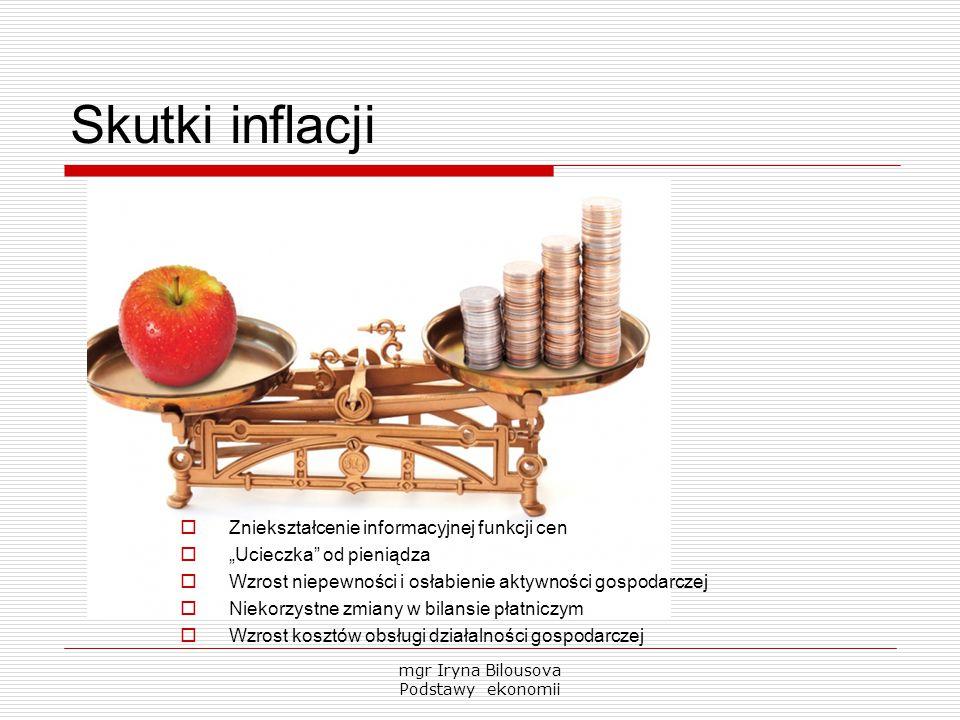 """Skutki inflacji  Zniekształcenie informacyjnej funkcji cen  """"Ucieczka"""" od pieniądza  Wzrost niepewności i osłabienie aktywności gospodarczej  Niek"""