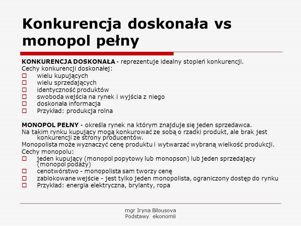 Konkurencja doskonała vs monopol pełny KONKURENCJA DOSKONAŁA - reprezentuje idealny stopień konkurencji. Cechy konkurencji doskonałej:  wielu kupując