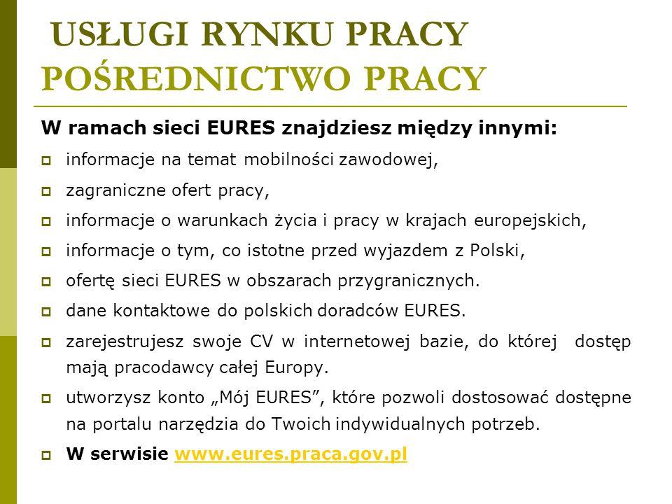 USŁUGI RYNKU PRACY POŚREDNICTWO PRACY W ramach sieci EURES znajdziesz między innymi:  informacje na temat mobilności zawodowej,  zagraniczne ofert p