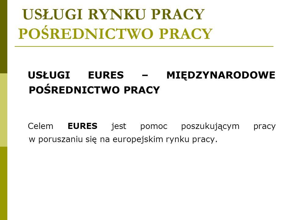 USŁUGI RYNKU PRACY POŚREDNICTWO PRACY W ramach sieci EURES znajdziesz między innymi:  informacje na temat mobilności zawodowej,  zagraniczne ofert pracy,  informacje o warunkach życia i pracy w krajach europejskich,  informacje o tym, co istotne przed wyjazdem z Polski,  ofertę sieci EURES w obszarach przygranicznych.