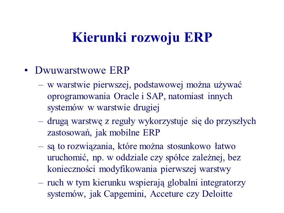 Kierunki rozwoju ERP Dwuwarstwowe ERP –w warstwie pierwszej, podstawowej można używać oprogramowania Oracle i SAP, natomiast innych systemów w warstwie drugiej –drugą warstwę z reguły wykorzystuje się do przyszłych zastosowań, jak mobilne ERP –są to rozwiązania, które można stosunkowo łatwo uruchomić, np.