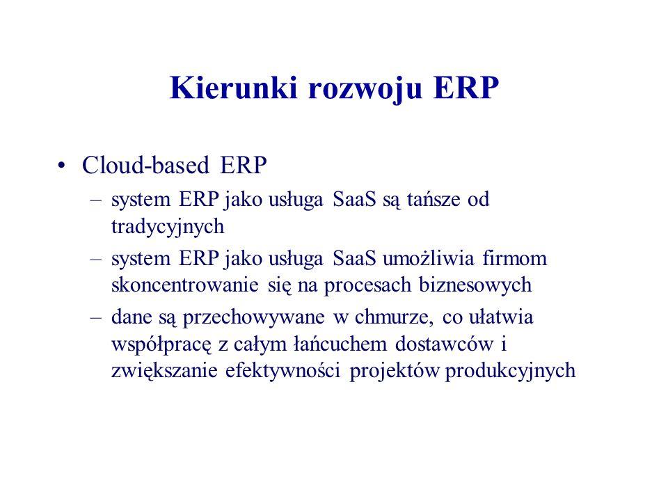 Kierunki rozwoju ERP Cloud-based ERP –system ERP jako usługa SaaS są tańsze od tradycyjnych –system ERP jako usługa SaaS umożliwia firmom skoncentrowanie się na procesach biznesowych –dane są przechowywane w chmurze, co ułatwia współpracę z całym łańcuchem dostawców i zwiększanie efektywności projektów produkcyjnych