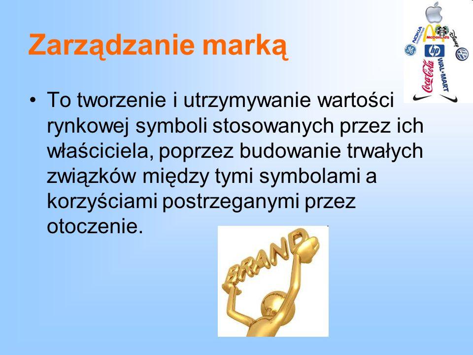 Zarządzanie marką To tworzenie i utrzymywanie wartości rynkowej symboli stosowanych przez ich właściciela, poprzez budowanie trwałych związków między
