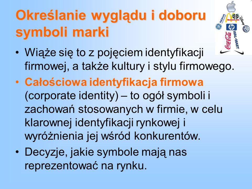 Określanie wyglądu i doboru symboli marki Wiąże się to z pojęciem identyfikacji firmowej, a także kultury i stylu firmowego. Całościowa identyfikacja