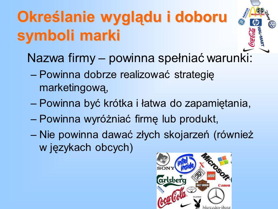 Określanie wyglądu i doboru symboli marki Nazwa firmy – powinna spełniać warunki: –Powinna dobrze realizować strategię marketingową, –Powinna być krót