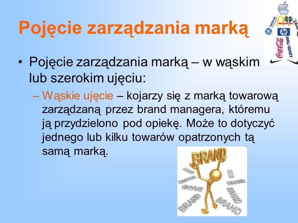 Pojęcie zarządzania marką Pojęcie zarządzania marką – w wąskim lub szerokim ujęciu: –Wąskie ujęcie – kojarzy się z marką towarową zarządzaną przez bra