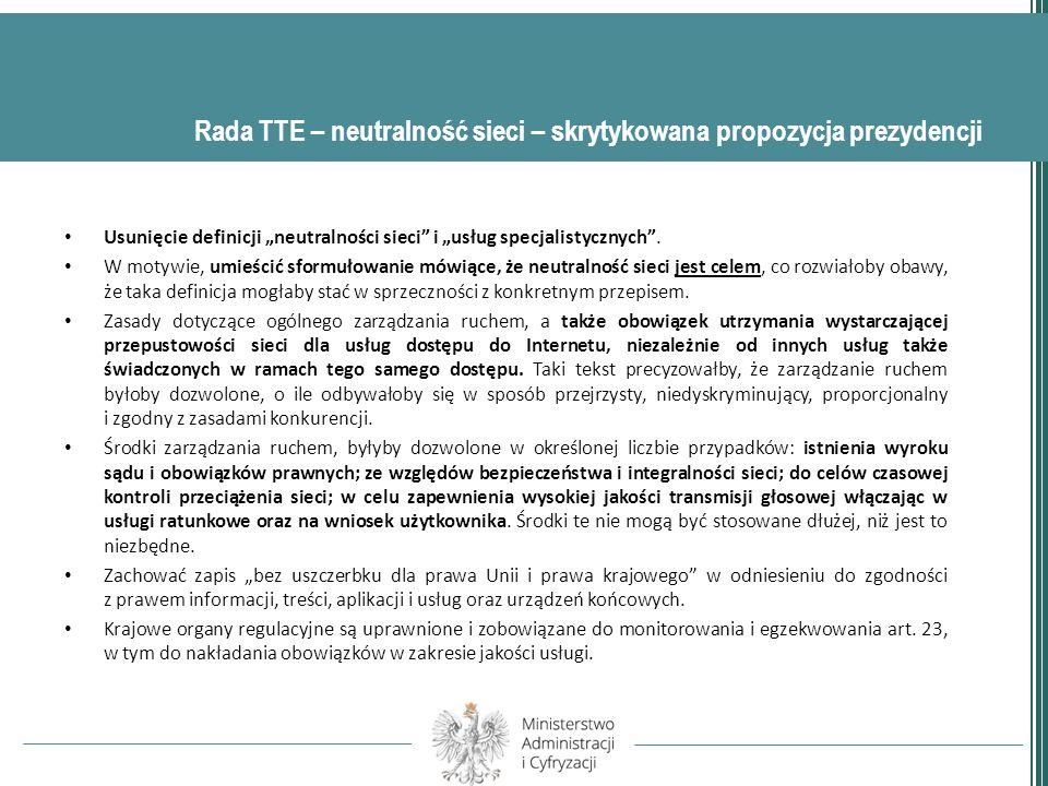 Podstawowym problemem procesu legislacyjnego TSM jest brak kompromisu w między państwami UE.