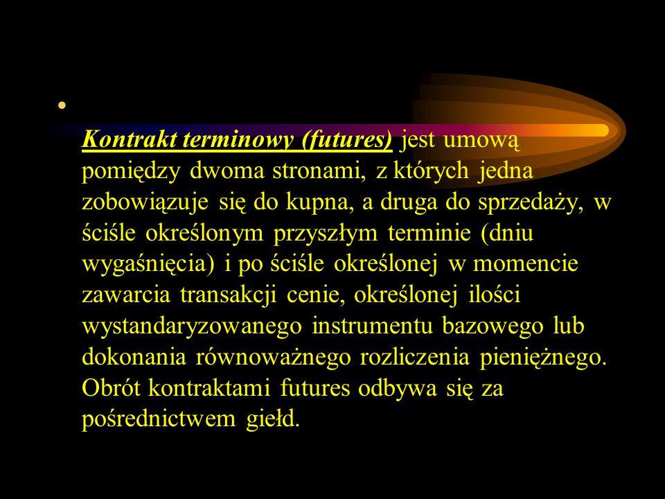 Kontrakt terminowy (futures) jest umową pomiędzy dwoma stronami, z których jedna zobowiązuje się do kupna, a druga do sprzedaży, w ściśle określonym p