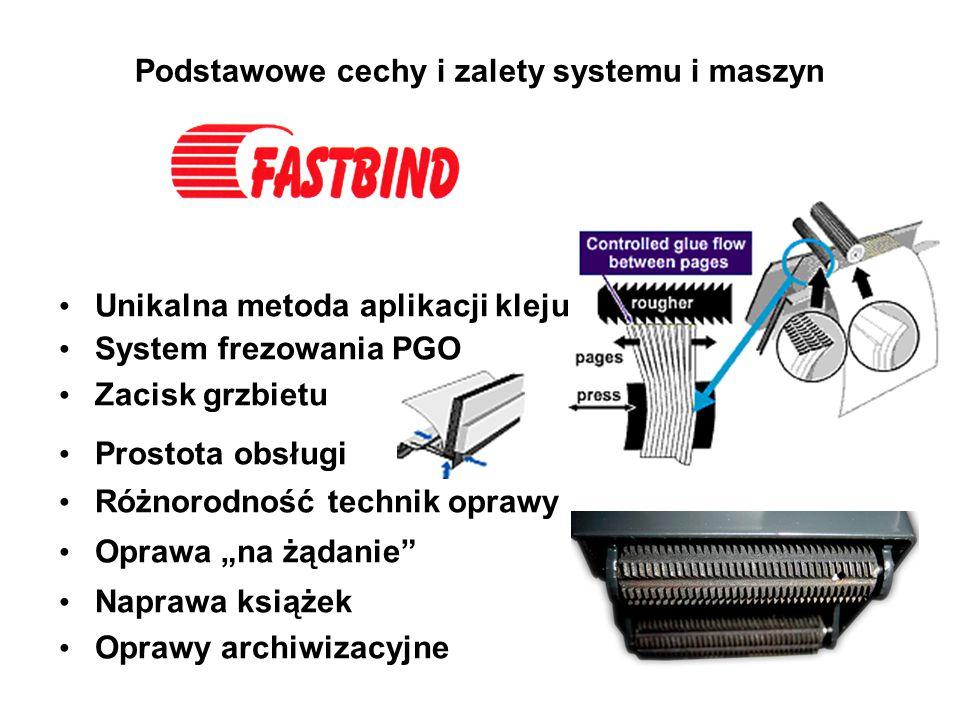 Podstawowe cechy i zalety systemu i maszyn Unikalna metoda aplikacji kleju System frezowania PGO Zacisk grzbietu Prostota obsługi Różnorodność technik