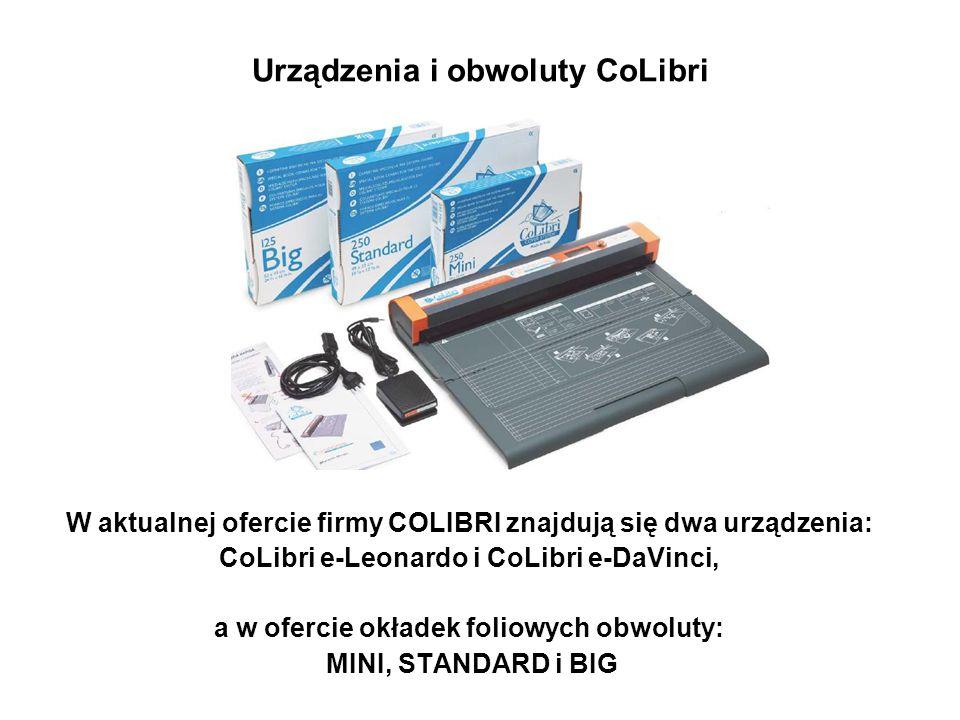 Urządzenia i obwoluty CoLibri W aktualnej ofercie firmy COLIBRI znajdują się dwa urządzenia: CoLibri e-Leonardo i CoLibri e-DaVinci, a w ofercie okład