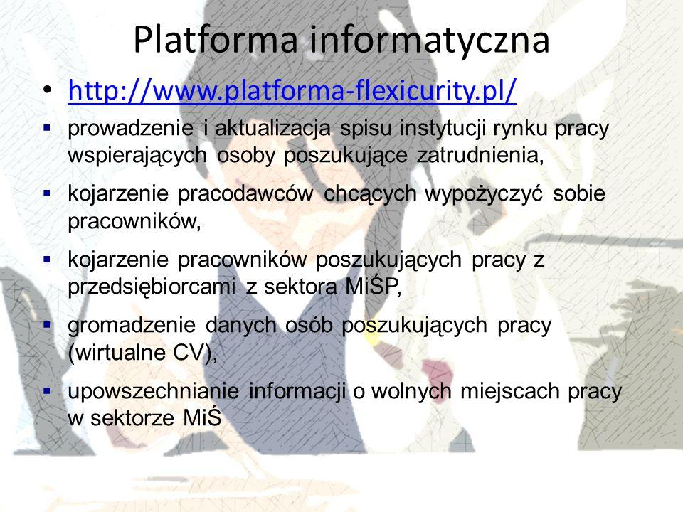 Platforma informatyczna http://www.platforma-flexicurity.pl/  prowadzenie i aktualizacja spisu instytucji rynku pracy wspierających osoby poszukujące