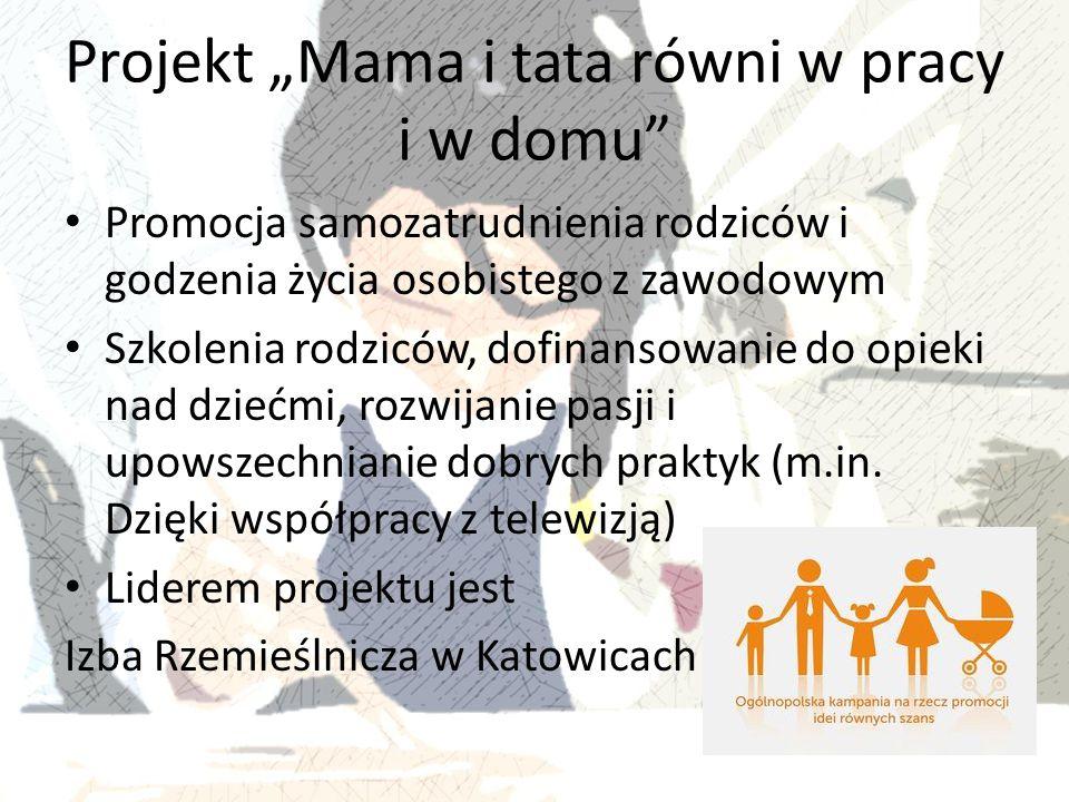 """Projekt """"Mama i tata równi w pracy i w domu"""" Promocja samozatrudnienia rodziców i godzenia życia osobistego z zawodowym Szkolenia rodziców, dofinansow"""