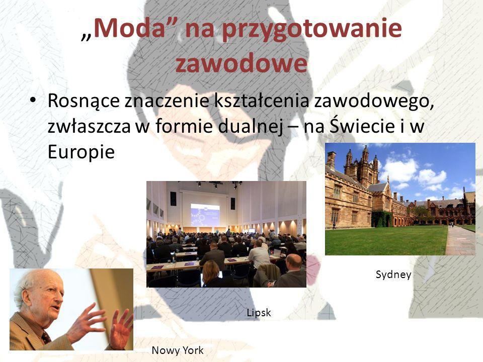 """""""Moda"""" na przygotowanie zawodowe Rosnące znaczenie kształcenia zawodowego, zwłaszcza w formie dualnej – na Świecie i w Europie Nowy York Lipsk Sydney"""