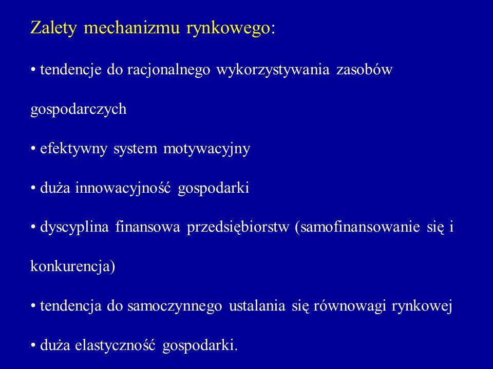 Zalety mechanizmu rynkowego: tendencje do racjonalnego wykorzystywania zasobów gospodarczych efektywny system motywacyjny duża innowacyjność gospodark