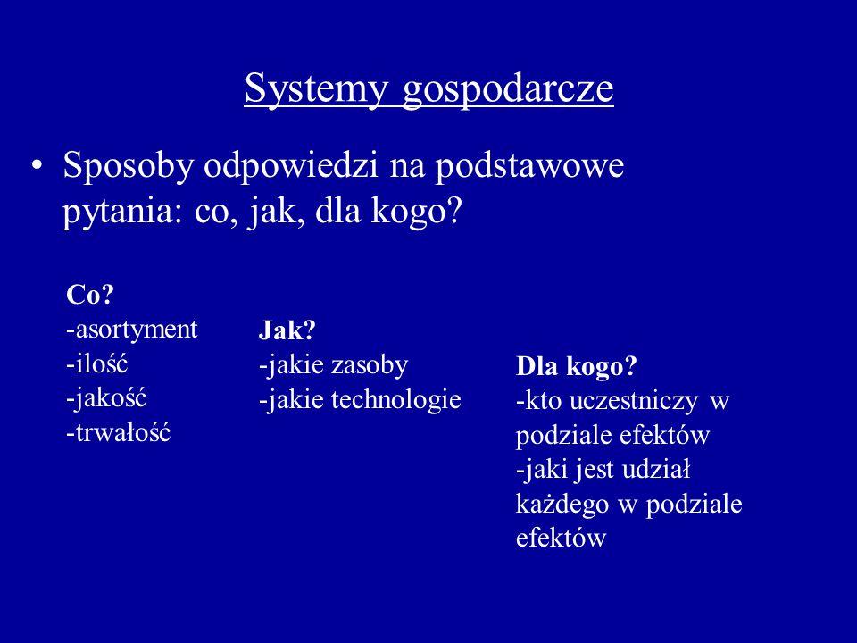 Systemy gospodarcze Sposoby odpowiedzi na podstawowe pytania: co, jak, dla kogo? Co? -asortyment -ilość -jakość -trwałość Jak? -jakie zasoby -jakie te