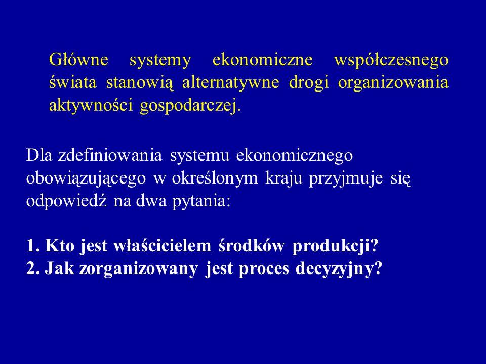 Dla zdefiniowania systemu ekonomicznego obowiązującego w określonym kraju przyjmuje się odpowiedź na dwa pytania: 1. Kto jest właścicielem środków pro