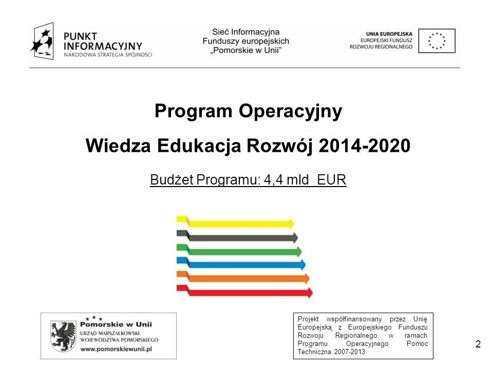 Projekt współfinansowany przez Unię Europejską z Europejskiego Funduszu Rozwoju Regionalnego w ramach Programu Operacyjnego Pomoc Techniczna 2007-2013 3 PROGRAM OPERACYJNY WIEDZA EDUKACJA ROZWÓJ 2014-2020 Najważniejsze wyzwania istniejące obecnie w zakresie poszczególnych obszarów wsparcia Program Operacyjny Wiedza Edukacja Rozwój: Rynek pracy Ubóstwo, wykluczenie i integracja społeczna Adaptacyjność przedsiębiorstw i pracowników System ochrony zdrowia Dobre rządzenie System edukacji Szkolnictwo wyższe Osoby młode