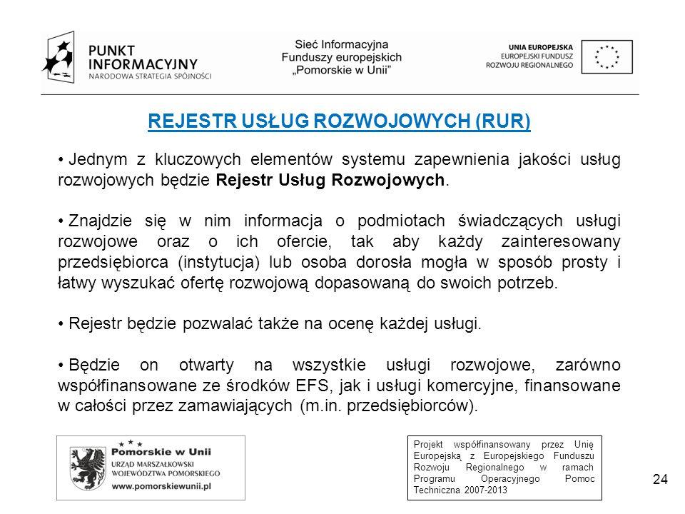 Projekt współfinansowany przez Unię Europejską z Europejskiego Funduszu Rozwoju Regionalnego w ramach Programu Operacyjnego Pomoc Techniczna 2007-2013 REJESTR USŁUG ROZWOJOWYCH (RUR) Rolę podmiotu prowadzącego Rejestr Usług Rozwojowych w nowej perspektywie finansowej pełnić będzie Polska Agencja Rozwoju Przedsiębiorczości (PARP).
