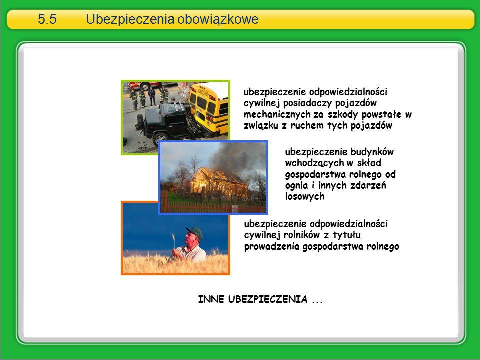 5.5Ubezpieczenia obowiązkowe ubezpieczenie odpowiedzialności cywilnej posiadaczy pojazdów mechanicznych za szkody powstałe w związku z ruchem tych poj