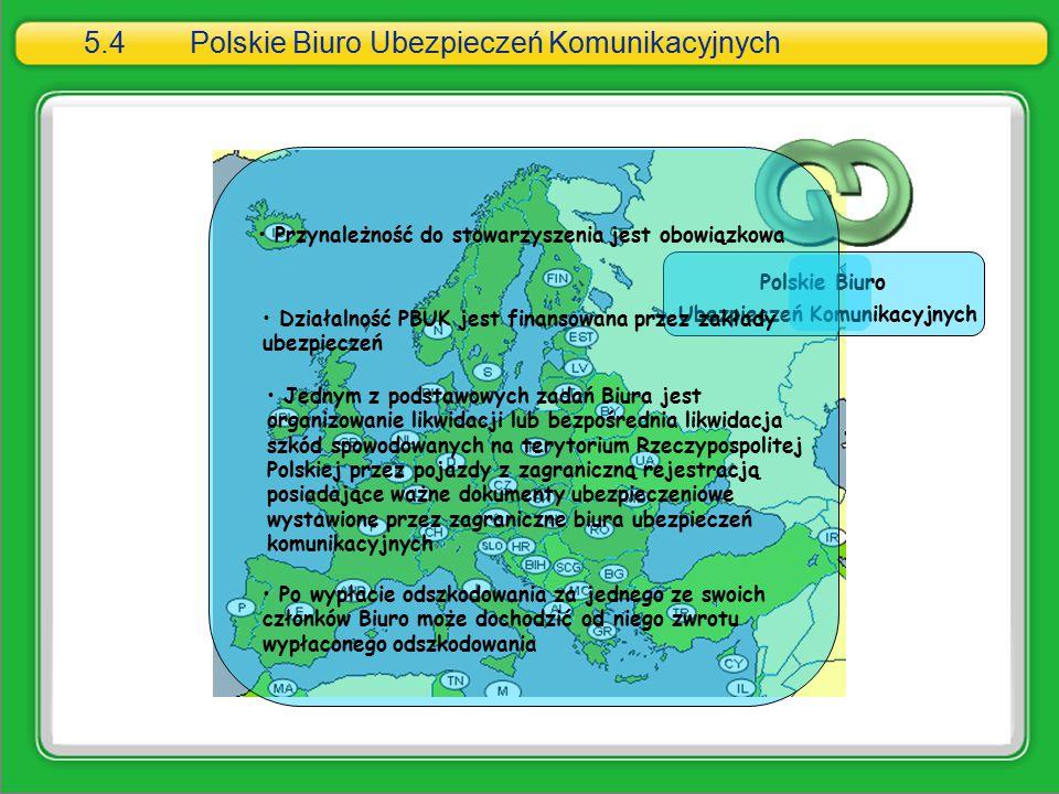 5.4Polskie Biuro Ubezpieczeń Komunikacyjnych Polskie Biuro Ubezpieczeń Komunikacyjnych Przynależność do stowarzyszenia jest obowiązkowa Działalność PB
