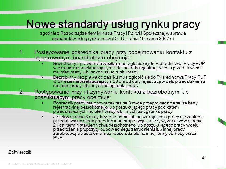 41 Nowe standardy usług rynku pracy zgodnie z Rozporządzeniem Ministra Pracy i Polityki Społecznej w sprawie standardów usług rynku pracy (Dz.