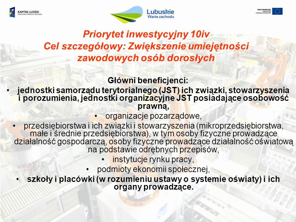 Priorytet inwestycyjny 10iv Cel szczegółowy: Zwiększenie umiejętności zawodowych osób dorosłych Główni beneficjenci: jednostki samorządu terytorialneg