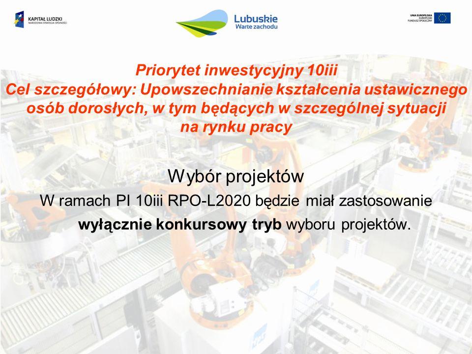 Priorytet inwestycyjny 10iii Cel szczegółowy: Upowszechnianie kształcenia ustawicznego osób dorosłych, w tym będących w szczególnej sytuacji na rynku