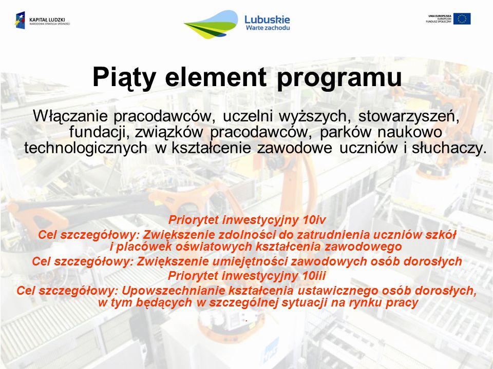 Piąty element programu Włączanie pracodawców, uczelni wyższych, stowarzyszeń, fundacji, związków pracodawców, parków naukowo technologicznych w kształ