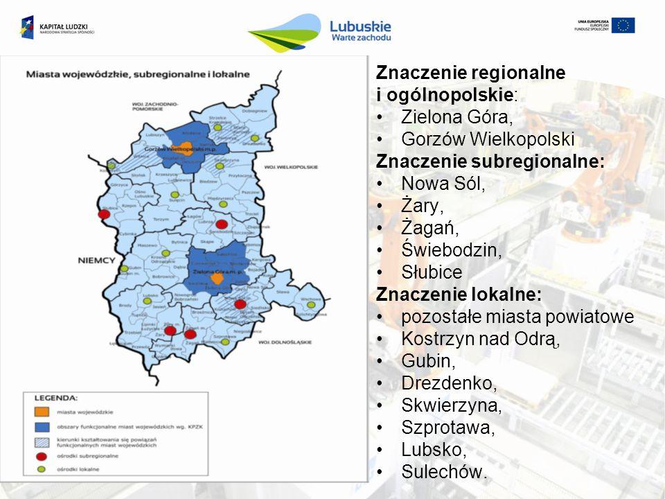 Znaczenie regionalne i ogólnopolskie: Zielona Góra, Gorzów Wielkopolski Znaczenie subregionalne: Nowa Sól, Żary, Żagań, Świebodzin, Słubice Znaczenie