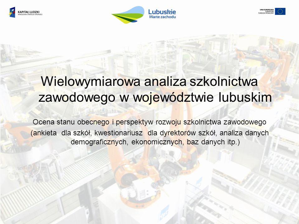 I etap Opracowanie koncepcji zapotrzebowania informacyjnego wraz z zestawem narzędzi pomiarowych służących analizie stanu kształcenia zawodowego w województwie lubuskim (narzędzia oraz metodologia realizacji badań, pilotaż narzędzi badawczych) Zamawiający - Departament Europejskiego Funduszu Społecznego, Urząd Marszałkowski Województwa Lubuskiego