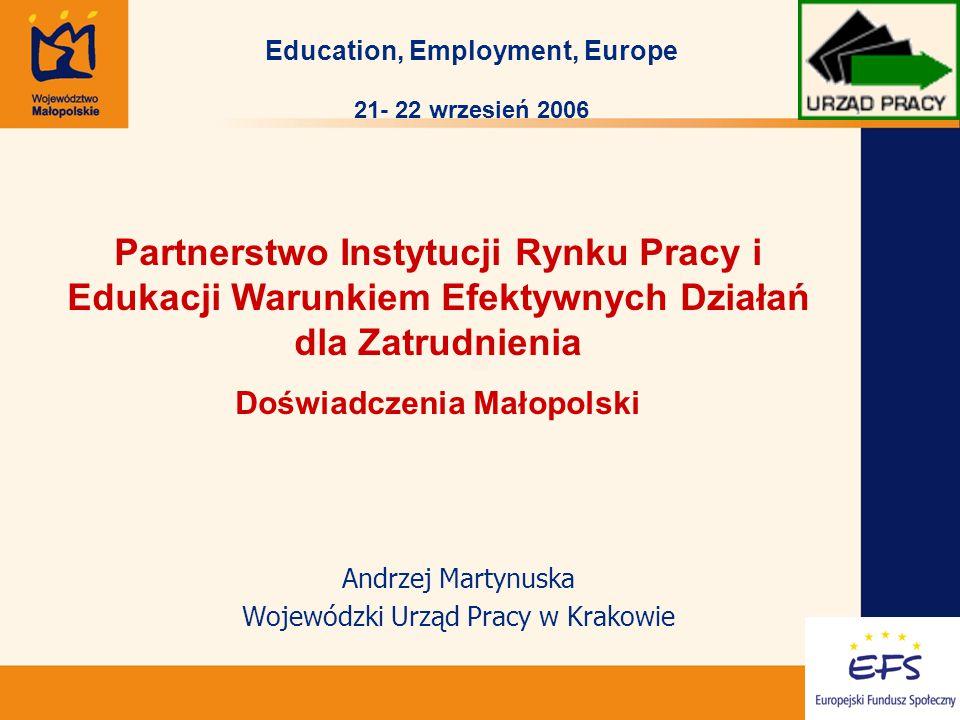 1 Andrzej Martynuska Wojewódzki Urząd Pracy w Krakowie Partnerstwo Instytucji Rynku Pracy i Edukacji Warunkiem Efektywnych Działań dla Zatrudnienia Doświadczenia Małopolski Education, Employment, Europe 21- 22 wrzesień 2006