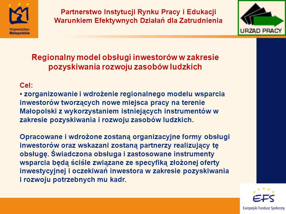 18 Partnerstwo Instytucji Rynku Pracy i Edukacji Warunkiem Efektywnych Działań dla Zatrudnienia Regionalny model obsługi inwestorów w zakresie pozyskiwania rozwoju zasobów ludzkich Cel: zorganizowanie i wdrożenie regionalnego modelu wsparcia inwestorów tworzących nowe miejsca pracy na terenie Małopolski z wykorzystaniem istniejących instrumentów w zakresie pozyskiwania i rozwoju zasobów ludzkich.
