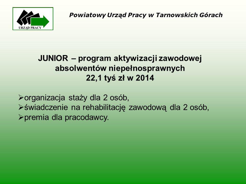 JUNIOR – program aktywizacji zawodowej absolwentów niepełnosprawnych 22,1 tyś zł w 2014  organizacja staży dla 2 osób,  świadczenie na rehabilitację